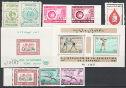 Afghanistan 1955/61  8 Val.+ 2 S/S **/MNH VF - Afganistán