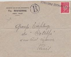 N° 514 S / Env T.P. Ob Gare Du Nord Province + Tad B Pour Paris Env De Creil - 1941-42 Pétain