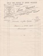 98000 Monaco Léon Bricout Salles De Ventes Facture Pour Maubert à Monaco Mai 1906 - Autres