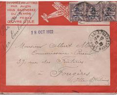 LIGNES AERIENNES LATECOERE FRANCE MAROC    CACHET 1922 - Airmail