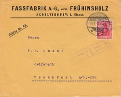 Env Affr Michel 86 Obl SCHILTIGHEIM / * * A Du 25.1.15 Adressée à Frankfurt Avec Censure - Postmark Collection (Covers)