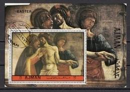 "Ajman 1972 Bf. 530A ""Deposizione"" Quadro Dipinto Da G. Bellini Giambellino Painting Perf. Preoblit. - Ajman"
