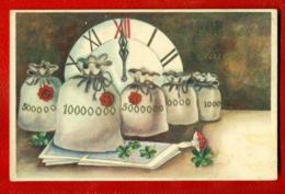 LATVIA LETTLAND HAPPY NEW YEAR Money Bag AND MUSHROOM VINTAGE POSTCARD USED 2125 - Other