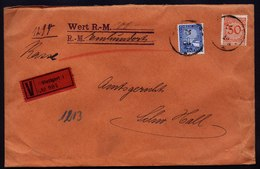 A6460) DR Bank-Wertbrief Stuttgart 1925 N. Schwäbisch Hall - Deutschland