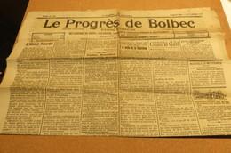 Journal Le Progrès De Bolbec 14 Sept 1919 Nouvelles Locales Lillebonne Normandie 76 - Kranten