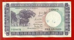 BANK OF SIERRA LEONE FIVE LEONES 340 - Sierra Leone
