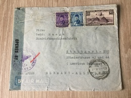K8 Ägypten 1947 Brief Von Kairo Nach Stuttgart Mit Doppelzensur - Lettres & Documents