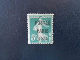 FRANCE  YT PR26 PREOBLITERE 5c Vert SURCHARGE POSTE PARIS 1921 NSG - Precancels