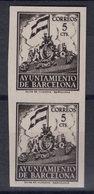 España 1940. Barcelona. Ed 28s Pareja. Variedad. Serie 8ª Letra X Sin Numero. MNG. *. - Barcelona