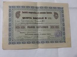 AZIONE SOCIETà COOPERATIVA DI CONSUMO SONVICO CANTON TICINO 25 FRANCHI 1930. - Shareholdings