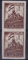 España 1940. Barcelona. Ed 27s Pareja. Variedad. Serie 8ª Letra Q Sin Numero. MNG. *. - Barcelona