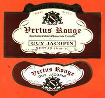 étiquette + Collerette De Coteaux Champenois Vertus Rouge Guy Jacopin à Vertus - 75 Cl - Champagne