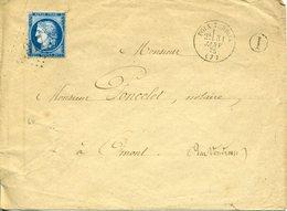 POIX TERRON Type 16 31 JANV 75 + GC 2917 Sur N°60 Type 3 25c Cérès Pour OMONT - 1849-1876: Période Classique