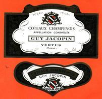 étiquette + Collerette De Coteaux Champenois Guy Jacopin à Vertus - 75 Cl - Champagne