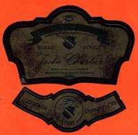 étiquette + Collerette De Coteaux Champenois 1986 Rouge Jackie Charlier  à Montigny Sous Chatillon - 75 Cl - Champagne