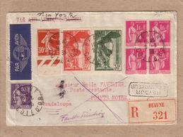 CÔTE D'OR , GUADELOUPE - LETTRE BEAUNE POUR POINTE NOIRE , RECOMMANDE FAUSSE DIRECTION RETOUR , TIMBRES SAMOTHRACE- 1938 - 1921-1960: Moderne