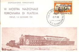 """(St.Post.).VI Mostra Ferroviaria.Firenze 1968.Stazione Ferroviaria """"Leopolda"""" (9-20) - Esposizioni Filateliche"""