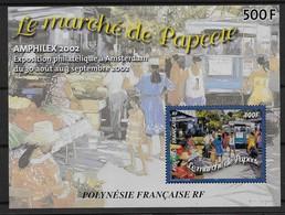 2003  Polynésie Française N° BF  28  Nf** MNH . Papeete D'Antan Le Marché . - Blokken & Velletjes