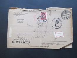 Ungarn 1928 Beleg Mit Nachporto Marke Und Vielen Stempeln Und Vermerken + Klebezettel Ismretlen Inconnu. - Portomarken