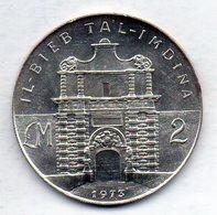 MALTA, 2 Lire, Silver, Year 1973, KM #20 - Malta