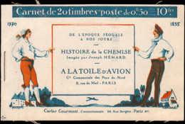 FRANCE Carnets ** 199-C44: 50c. Semeuse Lignée, Toile D'avion 4 Fois (toit Noir) HISTOIRE DE LA CHEMISE - Carnets