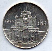 MALTA, 4 Lire, Silver, Year 1974, KM #25 - Malta