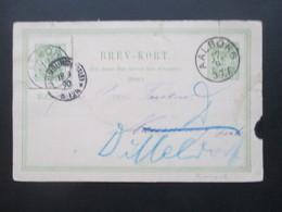 Dänemark 1890 GA Von Aalborg - Naumburg Saale Mit K1 Ak Stempel Weitergeleitet Nach Düsseldorf Mit Ganzsachen Ausschnitt - Cartas