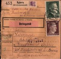 ! 1943 Paketkarte Deutsches Reich, Zgierz (Kreis Litzmannstadt) Nach Kieritzsch - Allemagne