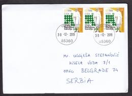 Montenegro 2019 150 Years Birth Of Mahatma Gandhi Famous People India Travel Letter To Serbia Income Postmark On Back - Mahatma Gandhi
