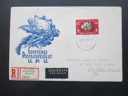 Ungarn 1950 UPU Marke Aus Block 18 FDC Echt Gelaufen Als Luftpost Einschreiben Nach New York USA Mit Ak Stempel - Briefe U. Dokumente