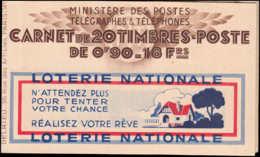 FRANCE Carnets ** 368-C1, Série 43, 90c. Paix, Avec Numéro Et Cd 20/12/38, Fer à Cheval-Byrrh-Byrrh-C.C.P LOTERIE NATION - Libretas