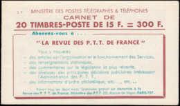 FRANCE Carnets ** 886-C10, Série 9: 15f. Gandon Bleu Type I, Excel-Bic-Excel-Bic REVUE PTT, ÉCOLE UNIVERSELLE - Carnets