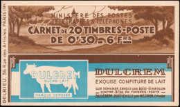 FRANCE Carnets ** 360-C1, Série 21: 30c. Brun- Rouge Semeuse, Poste Aérienne-Byrrh-Byrrh-CCP DULCREM, ÉCOLE UNIVERSELLE - Definitives