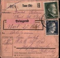 ! 1943 Paketkarte Deutsches Reich, Tann Im Elsaß Nach Gräfenhainichen, R.A.D. Lager, Reichsarbeitsdienst - Allemagne