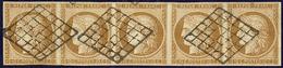 No 1a, Bande De Cinq Obl Grille, Remargée En Haut Mais TB D'aspect - 1849-1850 Cérès