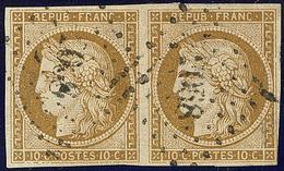 No 1b, Paire, Nuance Foncée, Obl Pc. - TB - 1849-1850 Cérès