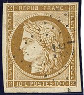 No 1c, Bistre-verdâtre Foncé, Obl Pc, Belle Nuance. - TB - 1849-1850 Cérès