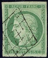 No 2a, Vert Clair, Obl Grille,  Très Frais Et Bien Centré. - TB. - R - 1849-1850 Cérès