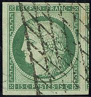No 2b, Vert Foncé, Un Voisin, Obl Grille Sans Fin, Superbe. - R - 1849-1850 Cérès