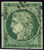 No 2c, Vert Très Foncé, Obl étoile. - TB. - R - 1849-1850 Cérès
