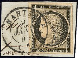 Oblitérations. 2 Janvier 1849 De Nantes. Cad 15 Sur N°3, Un Voisin, Jolie Pièce. - TB. - R - 1849-1850 Cérès