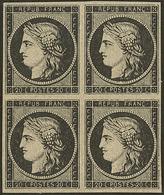 (*) Feuille De Passe. No 3, Bloc De Quatre, Très Frais. - TB - 1849-1850 Cérès