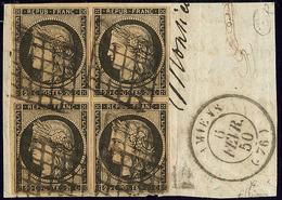 No 3, Bloc De Quatre Obl Grille Sur Fragment Avec Cad Amiens Fév 50. - TB. - R - 1849-1850 Cérès