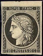 * No 3a, Noir Sur Blanc, Petit Bdf, Gomme Légèrement Diminuée Mais Très Frais Et TB - 1849-1850 Cérès