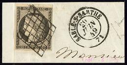 No 3c, Gris-noir, Obl Grille Sur Petit Fragment Avec Cad De Sablé Sur Sarthe Juin 49. - TB - 1849-1850 Cérès