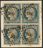No 4d, Bleu Sur Jaune, Bloc De Quatre, Obl Pc 900, Sur Petit Fragment. - TB (N°et Cote Maury) - 1849-1850 Cérès