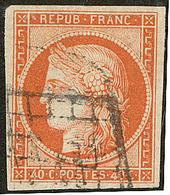 No 5, Obl Grille, Infime Froissure Horizontale Mais TB - 1849-1850 Cérès