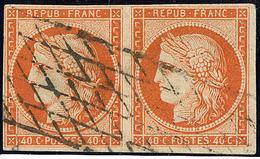 No 5, Paire Obl Grille Sans Fin. - TB - 1849-1850 Cérès