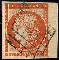 No 5a, Orange Vif, Bdf, Obl Grille. - TB. - R - 1849-1850 Cérès