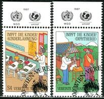 UNO Wien - Mi 77 / 78 Mit TAB - OO Gestempelt (B) - 4-9,50s       Kinderschutzimpfungen - Centre International De Vienne